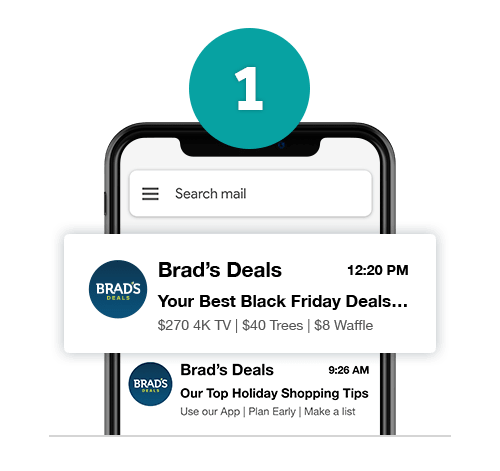 Brad's Deals newletter shown on mobile phone screen