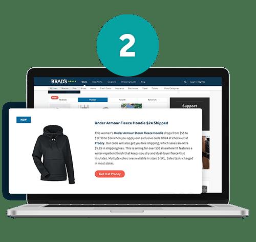 Brad's Deals website shown on laptop screen