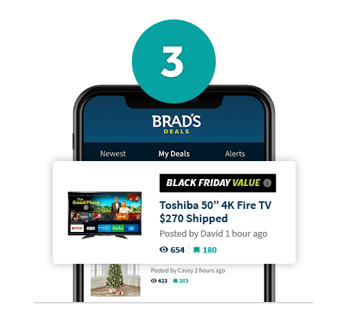 Brad's Deals app shown on mobile phone screen