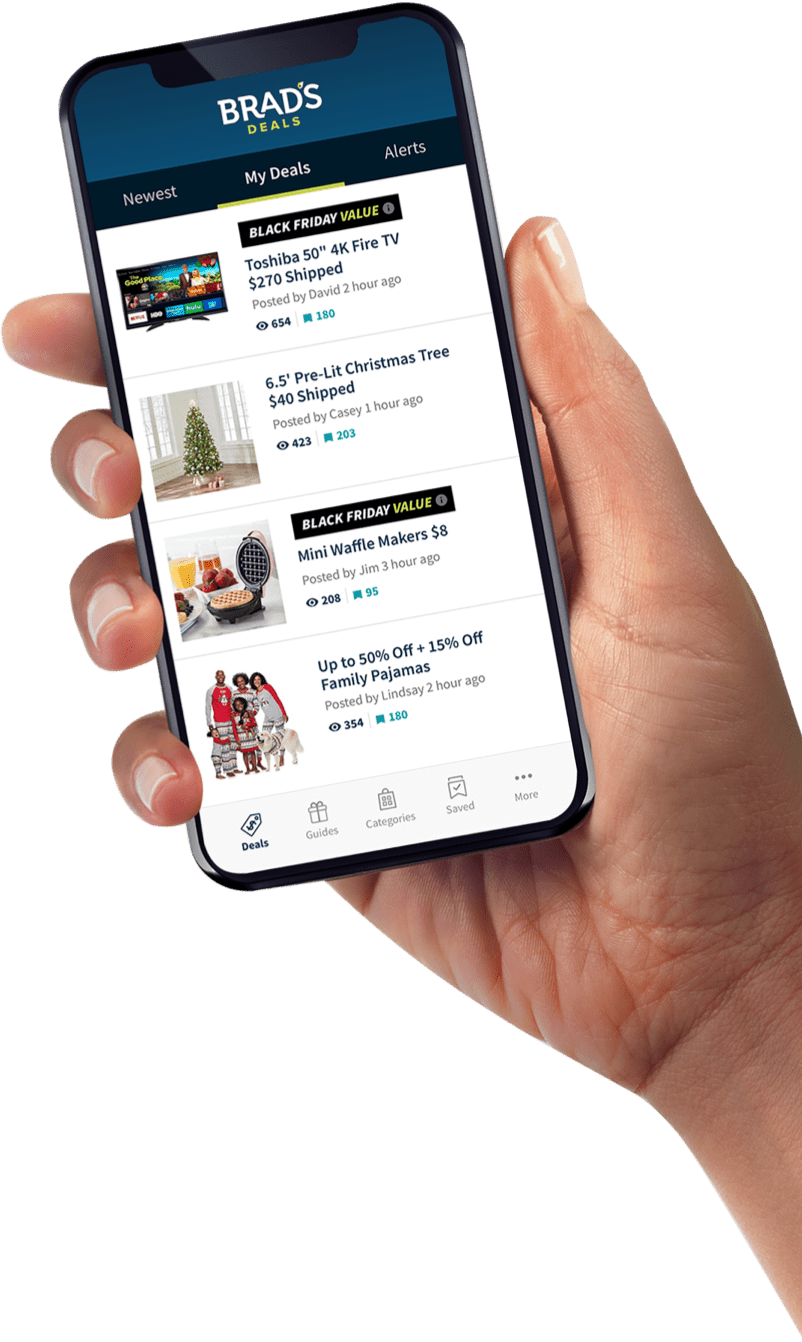 hand holding mobile phone with Brad's Deals app displayed